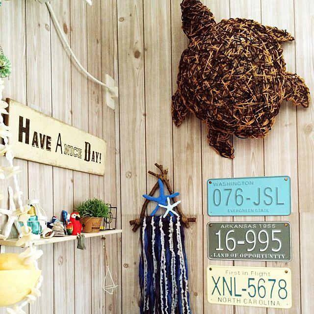 On Walls,カメランプ,weaving,西海岸風,スターフィッシュ,DIY,ハンドメイド,ダイソー,雑貨,100均,流木,照明,三角,セリア,観葉植物,シェル,BONBONHOME,サリュ hanaliloaloの部屋