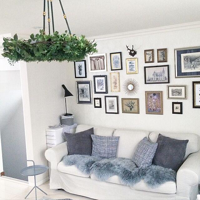 On Walls,IGやってます,海外インテリア好き,照明,DIY,IKEA,ファー,絵画,グレー好き,ホワイトインテリア,モノトーンインテリア,ソファ k.home1224の部屋