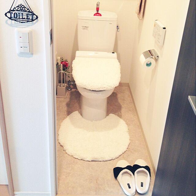 Bathroom,ホワイトインテリア,トイレ,トイレマット,ベルメゾン,スリッパ,フランフラン tommy0208の部屋