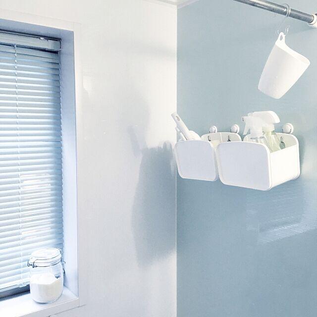 Bathroom,IKEA,セリア,100均,カメラマークいっぱい,建売,子供と暮らす。,シンプル,本来の用途ではない,バスルーム,風呂,掃除道具,白黒好き,本当は調味料ケース umimicaの部屋