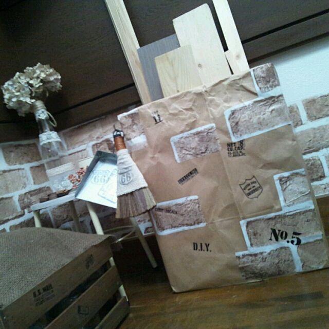 シマホ,リメイクシート,セリア,手作り,ナチュラル・アンティーク,ステンシルシール,端材入れ,ダンボール,リメイク,AKARI.Mちゃんから貰った木 Mokaの部屋