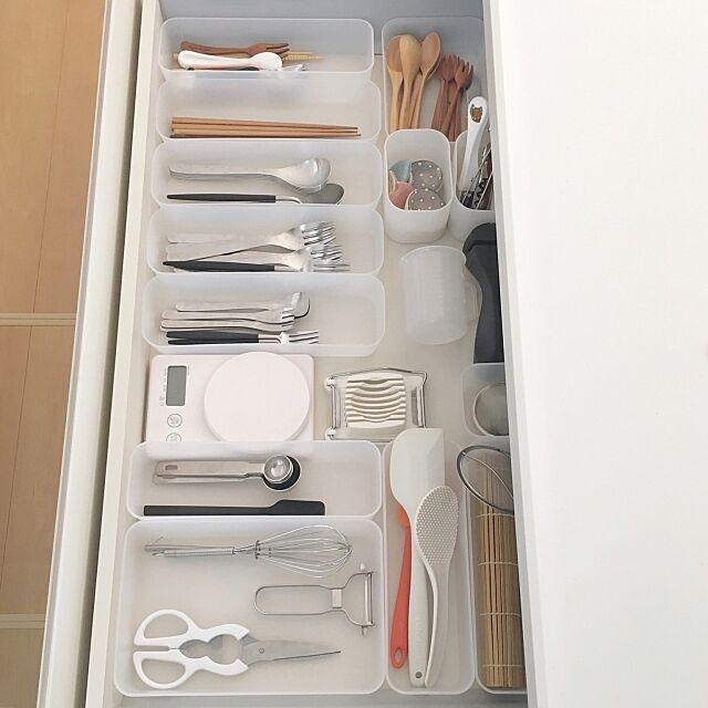 Kitchen,整理ボックス,カトラリー,一軒家,新築一戸建て,戸建て,新築,収納,整理収納,整理整頓,キッチン,キッチン収納,断捨離,キッチン用品,無印,無印良品,シンプルな暮らし,シンプルライフ,すっきり暮らす,ig☞miiiiiii_y,IGやってます,無印良品 収納 miii_yの部屋