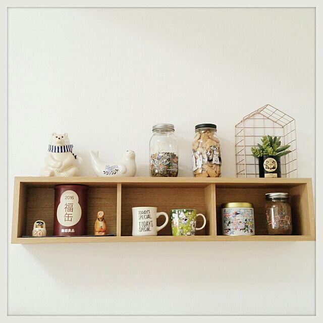 My Shelf,無印良品,1K,賃貸,新築,北欧,ムーミン,TODAY'S SPECIAL,福缶,しろくま貯金箱,いなざうるす屋さん,Tiger Copenhagen,壁に付けられる家具,お茶,ビスケット,コーヒー,だるま,さる moikkaの部屋