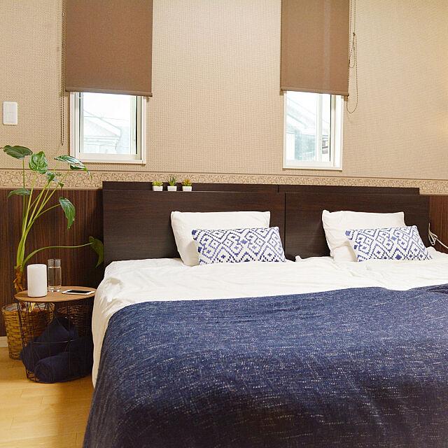 Bedroom,寝具,salut!,グリーンのある暮らし,日常,アイアンウッド,サイドテーブル,緑のある暮らし,ニトリ,6畳,リゾート,ホテルライク,Sealy Bed,無印良品,IKEA,シーリー,ベッド,寝室,GURLI Suの部屋