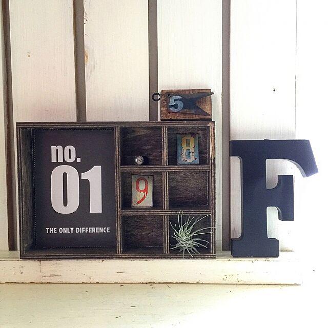 My Shelf,nanoku329ちゃん♡,penseeちゃん♡,アルファベットオブジェ,リメイク,男前ナチュラル,MEN's natural*,古道具,ヴィンテージ,JUNK,woodbox,エアプランツ,シャンブル,セリア cha_ru_の部屋