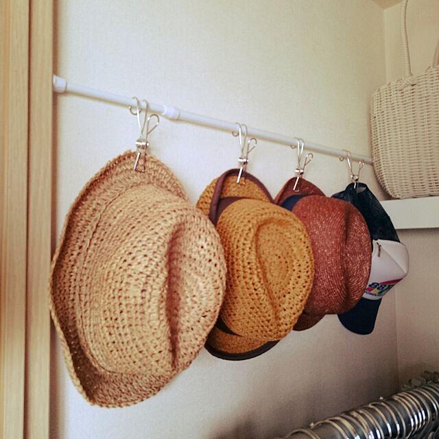 On Walls,突っ張り棒,無印良品,クローゼット収納,ステンレスひっかけるワイヤークリップ,帽子収納 kousanaの部屋