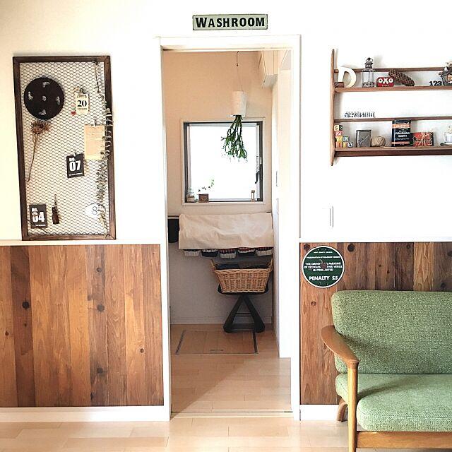 Bathroom,観葉植物,ナチュラル,雑貨,アンティーク,ソファ,DIY,カフェ風,カゴ,ドライフラワー,セリア,ビンテージ,洋書,板壁DIY eriの部屋