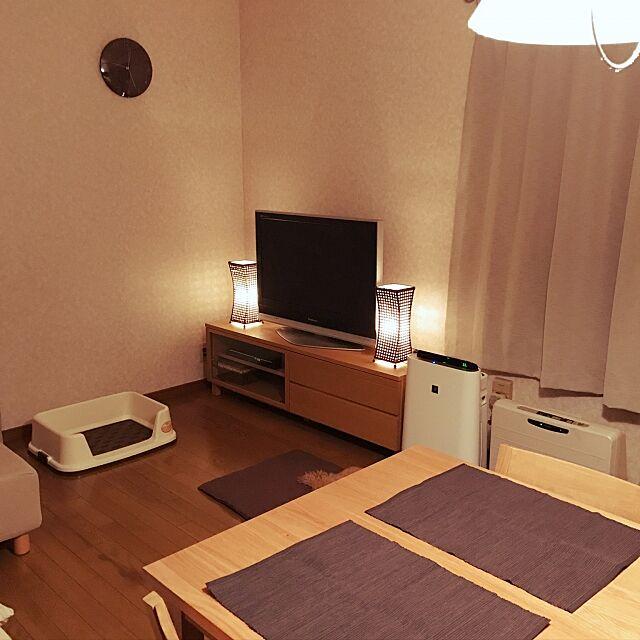 Lounge,無印良品 ランチョンマット,無印良品 AVラック,無印良品,ナチュラル,無印良品 カーテン,無印良品 ダイニングテーブル,スッキリ暮らしたい,ミニマリスト目指してます mayunの部屋