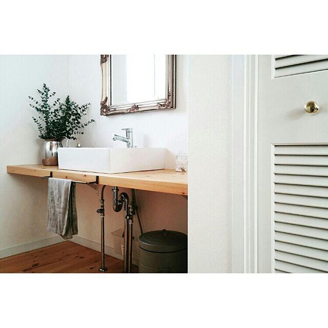 Bathroom,北欧,シンプル,北欧インテリア,フレンチ,洗面所,タオル掛け,リネン,リネンクロス kuuの部屋