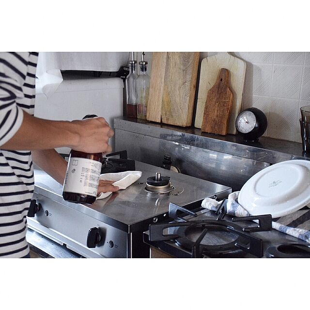 Kitchen,マーチソンヒューム,掃除,賃貸キッチン,リンナイ,instagram:go_room,Vamo.,無印良品,一人暮らし,メンズ部屋,塩系インテリア ginの部屋