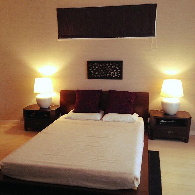 Bedroom,ホテル,オリエンタル,バリ,モダン アジアン リゾート,無印良品,照明,IKEA,アジアン,シンプルモダン,シンプル ayaya-1220の部屋