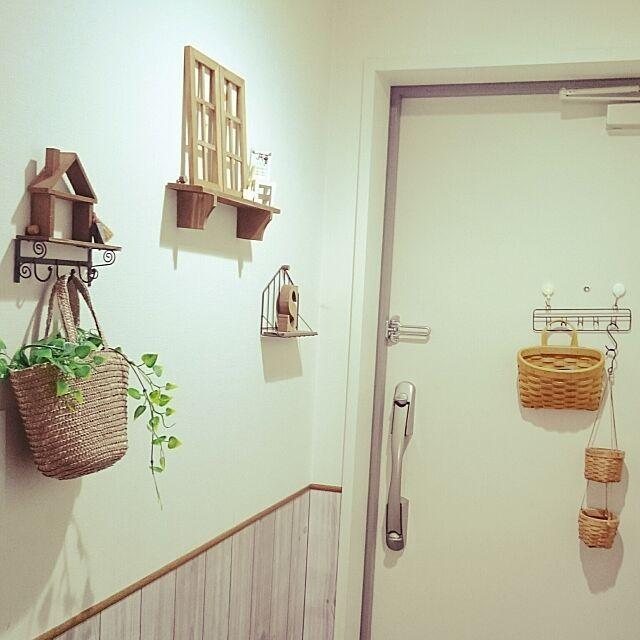 Entrance,セリア,3coins ,ダイソー,100均,板壁風壁紙,玄関,フェイクグリーン dream_meteorの部屋