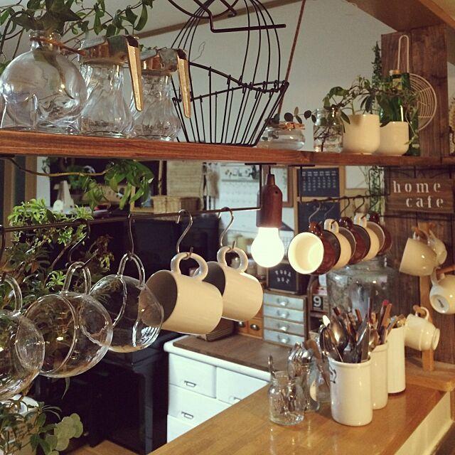 Kitchen,いつもありがとうございます♪,種類別に,DIY,ハンキング,カフェ風,アイアンバー,セリア,陶器マグカップ,耐熱マグカップ,マグカップ toccoの部屋