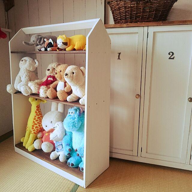 My Shelf,ぬいぐるみ収納,こどもと暮らす。,DIY,カラーボックスリメイク icoの部屋
