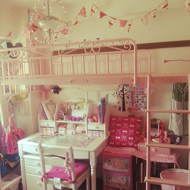 My Desk,子供部屋女の子,子供部屋♪,賃貸マンション,賃貸でも楽しく♪,賃貸でも諦めない!,賃貸,ロフトベッド,ピンク大好き,IKEA,フラッグガーランド,ペーパーポンポン Yuukiの部屋