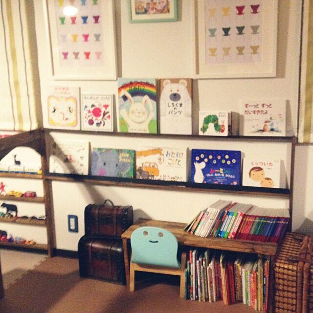 Lounge,子供部屋,収納,絵本棚,本棚,絵本,静岡県民,DIY,DIY 棚,キッズスペース,リビングのキッズスペース,トミカ、プラレール収納,きこりの椅子 SAORIN51の部屋