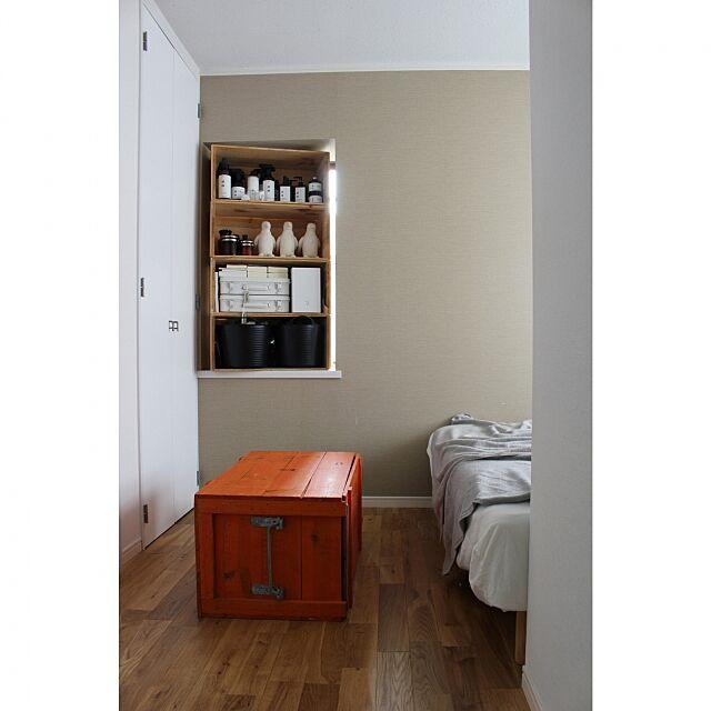 Bedroom,FOUND MUJI,タブトラックス,ベッド,無印良品,りんご木箱,TOMOS Atsushiの部屋