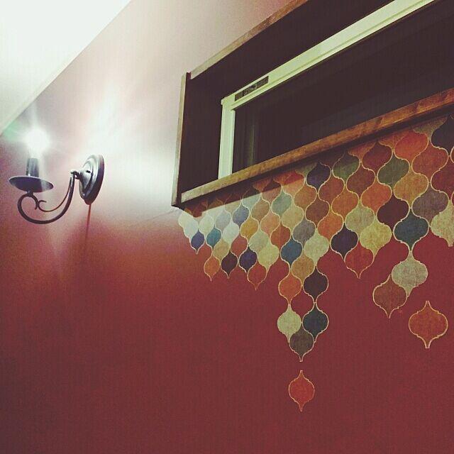 mt CASA,寝室,モロッコ風,アクセントクロス,ベッドルーム,カモ井加工紙さん,マスキングテープ,On Walls Reiyaの部屋