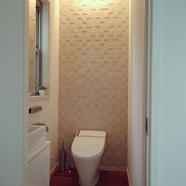 Bathroom,エコカラット,エコカラットの壁,シンプル,トイレ,タンクレストイレ,間接照明 shiokoの部屋