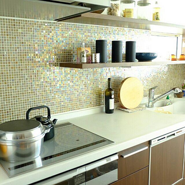 Kitchen,sicis,モザイクタイル,オープン棚,無水鍋,パナソニック,タイル,丸いまな板,ブログやってます♡ ricefishの部屋