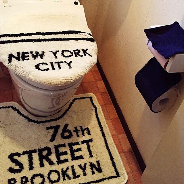 Bathroom,男前化計画,しまパト,ロゴ,トイレカバー,トイレマット,しまむら,ブルックリン,モノトーン cocoaの部屋