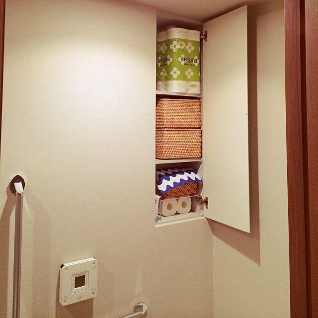 Bathroom,無印良品 収納,無印良品,トイレ,一人暮らし,ひとり暮らし,シンプル,すっきり暮らしたい,かご収納,北欧,マリメッコ,アクリル仕切棚,無印良品かご,トイレ収納,収納 skyblueの部屋