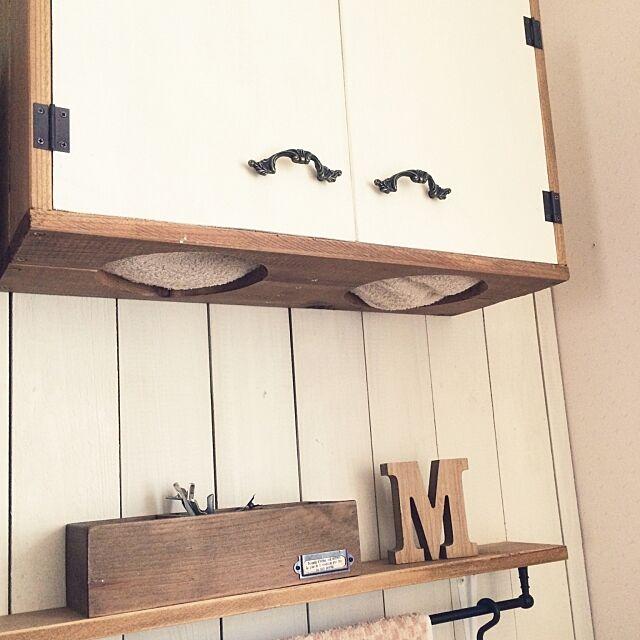Bathroom,板壁DIY,洗面所,タオル収納,DIY,セリア,ナチュラル,3Coins yu_noの部屋