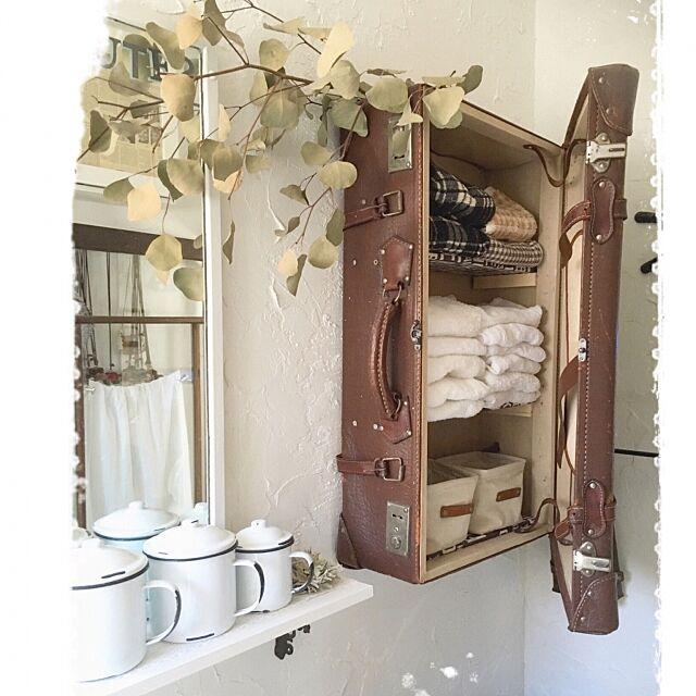 My Shelf,ポポラスドライ,漆喰壁DIY,リメイク,古い革トランク,収納アイデア,粗品タオルが一番 mocoの部屋