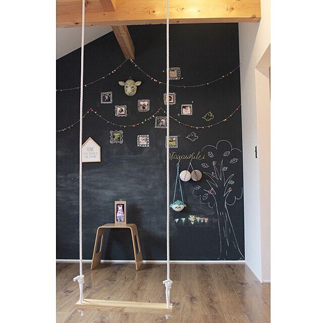 Bedroom,ブランコのある生活,チョークで落書き,黒板塗料,こどもと暮らす。,黒板 akanemallの部屋