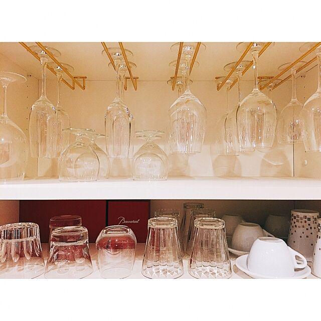 Kitchen,RIEDEL,TIFFANY&Co.,シャンパングラス,幅が雑,自作,ワイングラスホルダー,ワイングラス,プレゼント,baccarat,バカラ,ホームパーティー好き,見直し中,食器棚,シンプルライフ,キッチン収納 kanaaaaxxxxの部屋
