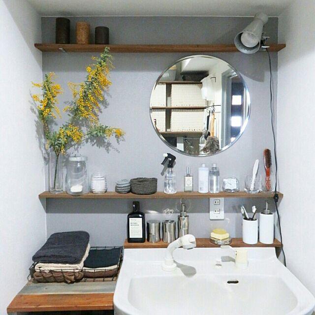洗面所,脱衣場,DIY,ミモザ,グレー,インスタ→achipetit,ブログやってます♪,塗りました,アクセントカラー,アクセントウォール,模様替え,植物,グリーン,NO GREEN NO LIFE,グリーンのある暮らし,グレーインテリア,ニトリ,IKEA,グレーの壁,セルフペイント,花のある暮らし,無印良品 ak3の部屋
