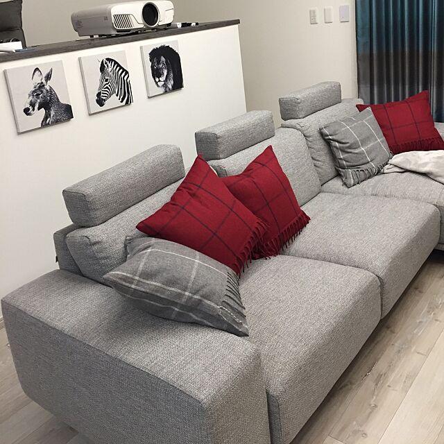 Lounge,ホワイトオークの床,グレーのソファー,動物,動物モチーフのインテリア,サンゲツ,グレーインテリア,JAM Kの部屋