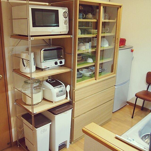 Kitchen,無印良品,収納,食器棚,賃貸,無印良品 収納,無印良品 スチールラック shirokinaの部屋