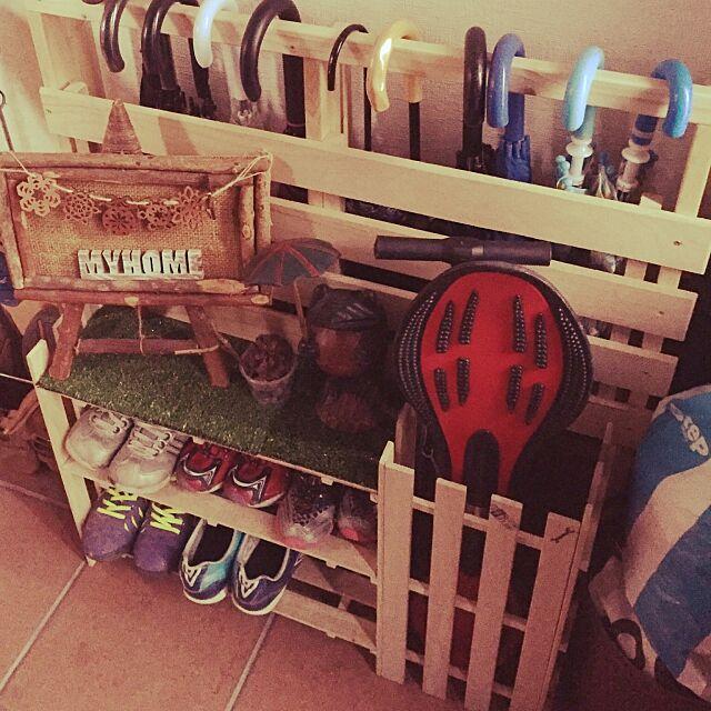 Entrance,傘立て,セリア,すのこDIY,ナチュラル,DIY,100均,すのこ棚DIY,傘立てDIY,イベント作品,一体型,webマガジン掲載 k.homeの部屋