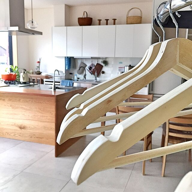 Kitchen,タイル床,コート掛け,IKEA,白,ハンガー NORiの部屋