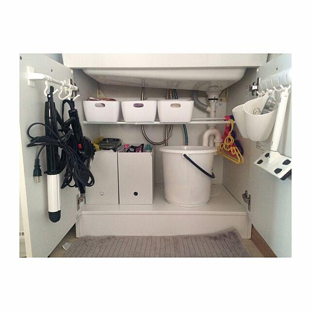 Bathroom,ニトリ,ドライヤー収納,つっぱり棒,整理収納部,洗面所 収納,洗面所,建売住宅,小さなお家,無印良品,北欧,セリア SHIMA5687の部屋