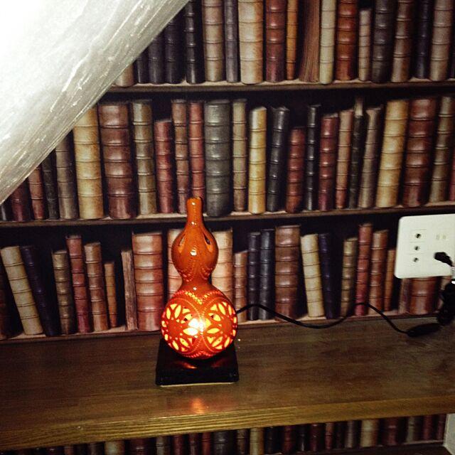 My Shelf,ひょうたんランプ,DIY,WALPA壁紙,階段下はPCコーナー Rumiの部屋