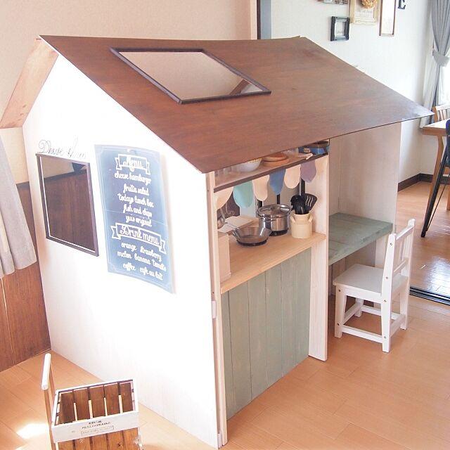 Lounge,おままごとキッチン,キッズハウス,子供部屋,カフェ風,DIY,セリア,ハンドメイド margueriteの部屋