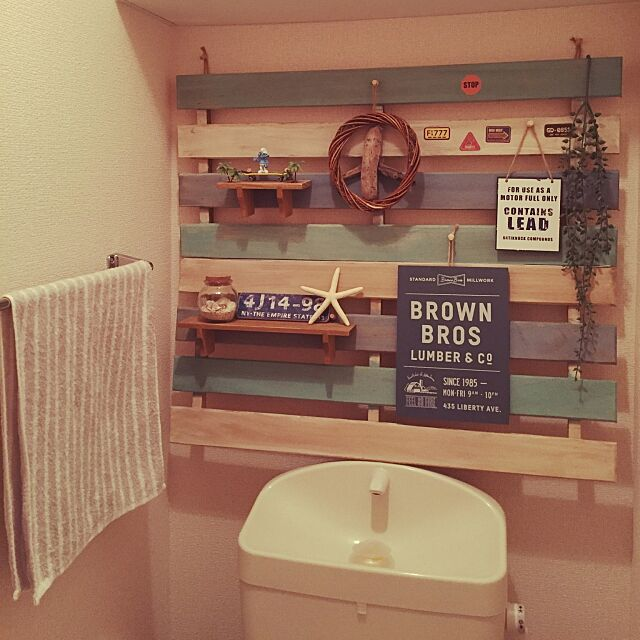 Bathroom,ビーチハウス風,流木風オブジェ,スノコ,セリア,100均,西海岸インテリア,カリフォルニアインテリアに憧れる,西海岸 nattsu0331の部屋