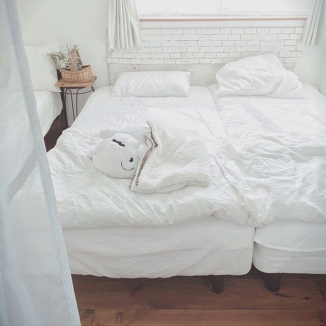 Bedroom,レンガの壁はヘッドボードに,無印良品,ここ40度くらいありそ,今日の最高気温1番だって,無印良品寝具 tomoの部屋