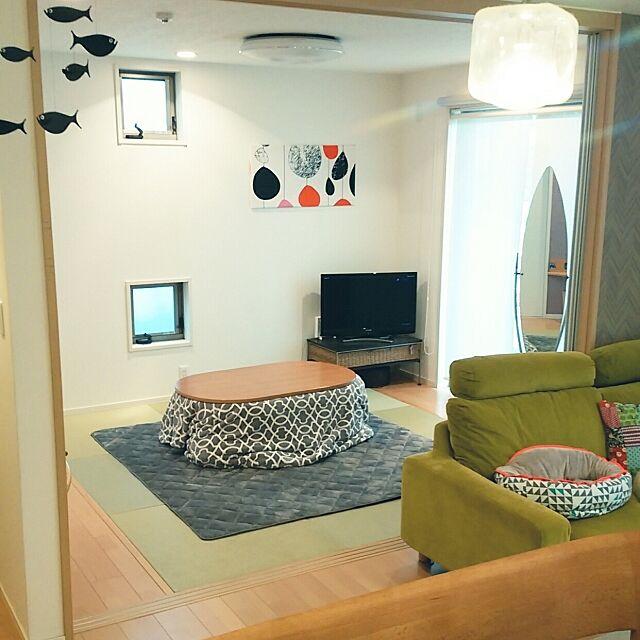 Lounge,楕円形の鏡,こたつ,コストコの毛布でこたつ布団をカバー,無印良品のこたつ fuku.loveの部屋