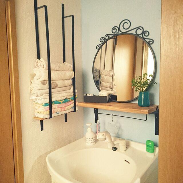 六畳,アパート,アイアンタオルハンガー,サリュ,IKEA,観葉植物,たなDIY,洗面所DIY,Bathroom c-sanの部屋