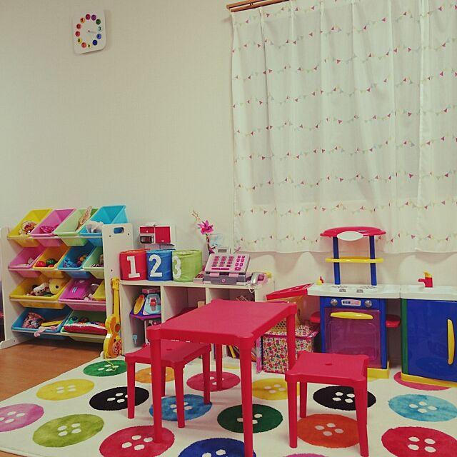 Overview,こどもと暮らす。,子供部屋 ,IKEA,子供部屋はカラフル,トイザらス,ニトリカーテン,おもちゃ収納 fucoの部屋