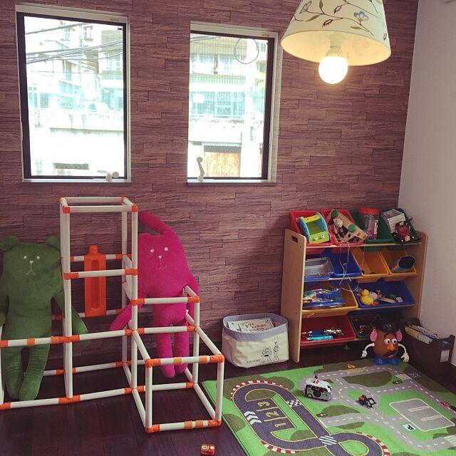 Overview,クラフトホリック,ジャングルジム,IKEAのラグ,しまむら,おもちゃ箱,栗アンティーク加工の床,栗アンティーク,トイザらスのおもちゃ棚,子供部屋,こどもと暮らす。,雑貨,アンティーク,プチプラ,男前,照明,IKEAの照明,10000人の暮らし,子供と暮らす。,子供がいる家,暮らしの一コマ,シンプル,ナチュラル,RoomClipドラマ化 pecoの部屋