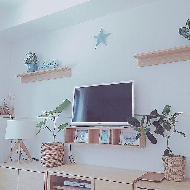 On Walls,ハンドメイド,ウンベラータ,無印良品かご,スマイルオブジェ,シンプル好き,ターコイズブルー,ホワイト,無印良品大好き,無印良品 壁に付けられる家具,無印良品,スッキリ暮らしたい,清潔感が大事ー♪,シンプルライフ,爽やか,水色×白,星,summer,ビーチスタイル,さわやかスタイル,無印良品カーテン,ブルー,無印良品 家具,水色大好き,自分流インテリア,星型,無印良品クッション Maron_Chaco_Roomの部屋