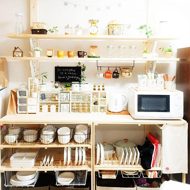 Kitchen,ニトリ,ディアウォール棚,ディアウォール,DIY,セリア,100均,雑貨大好き♡,雑貨,3Rhomeさん,フェイクグリーン,瓶,ホーローマグカップ,セリアリメイク,いつもいいねをありがとうございます♡,Instagramやってます,IG↬mio.life,キッチンスケール,ホーローポット mioの部屋