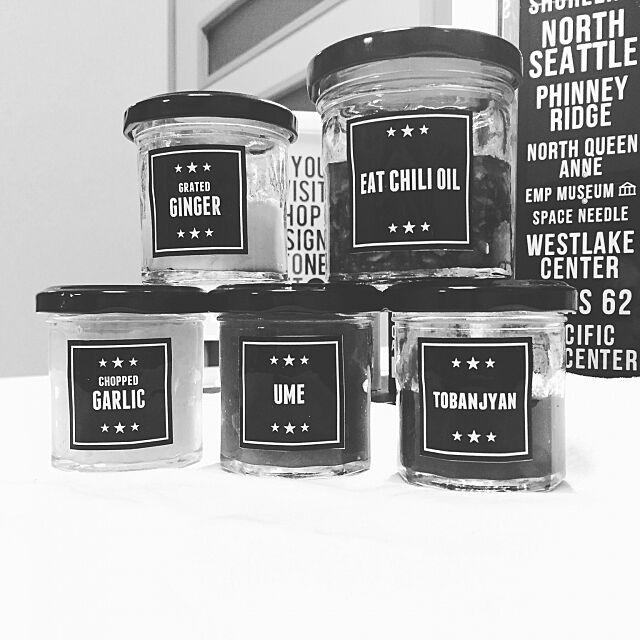 Kitchen,キャンドゥー,調味料ラベル,調味料,ラベル 白黒,ラベル作成,モノトーン,ハンドメイド k_i_s_a_r_aの部屋