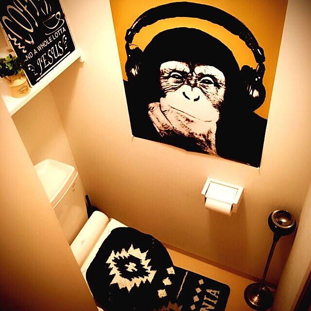 Bathroom,ポスター,ワンルーム,一人暮らし,1K,メンズ部屋,男,7帖,トイレ,カフェ風 Masayaの部屋