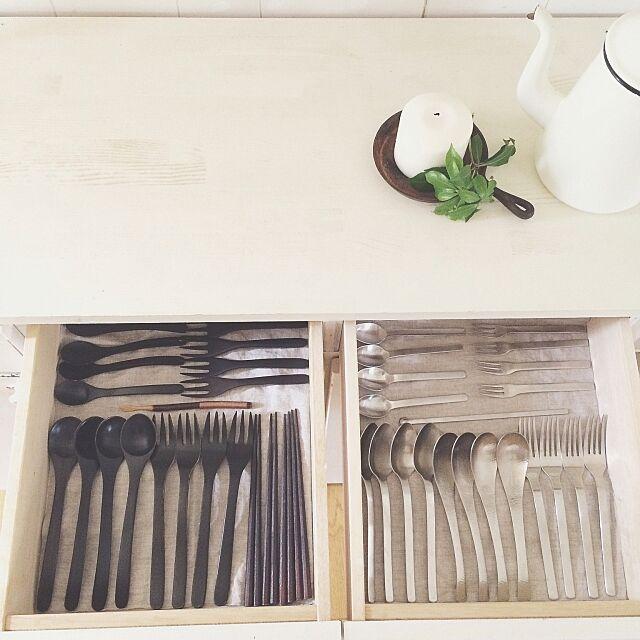 Kitchen,カトラリー収納,引き出し,リネン,整理収納部 asamiの部屋