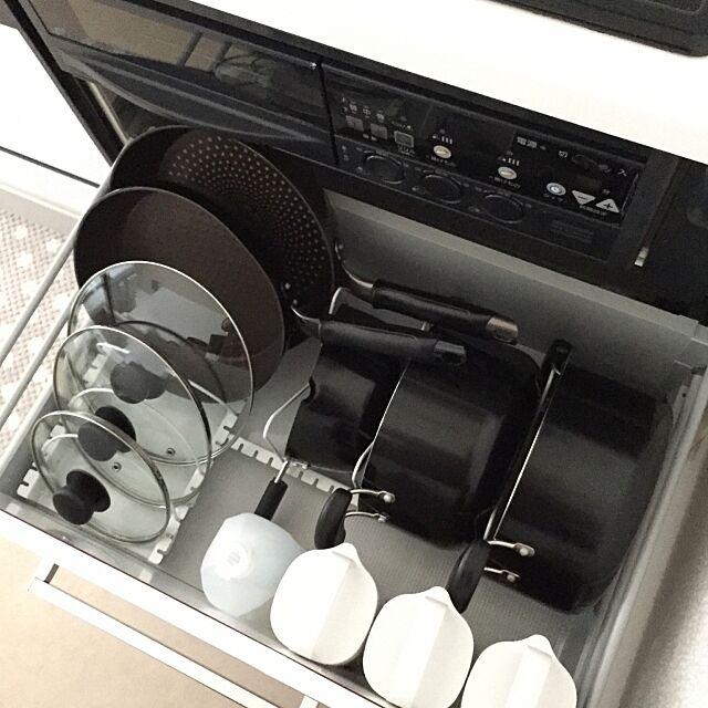 Kitchen,キッチン収納,引き出し収納,ニトリ,無印良品,整理整頓,シンプル,ホワイト KOKOROの部屋
